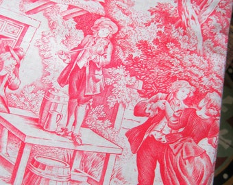 Toile de Jouy Fabric, French Vintage Fabric, Red & White Toile Fabric, French Jouy Print, French Pastoral Print, 1930s French Toile Fabric