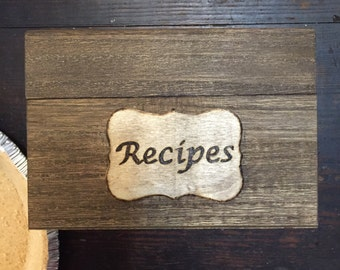 Wooden Recipe Box, 4 x 6 Recipe Card Box, Engagement, Bridal Shower, Christmas Gift, Housewarming, Wedding,  Recipe Card Box