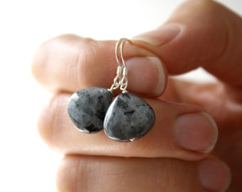 Larvikite Earrings . Gray Stone Earrings . Black and Grey Earrings . Simple Gray Dangle Earrings