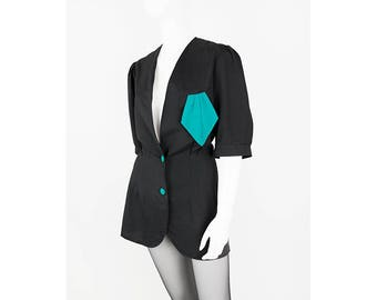 Vintage blouses Blazer in black with handkerchief