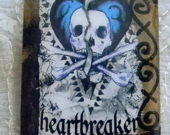 Black Valentine Heartbreaker Decoupage Valentine Brooch