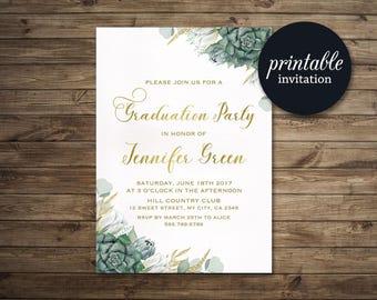 Graduation Invitation, Floral Graduation Invitation Printable, High School, College Graduation Invite Green Succulent Graduation Invitation