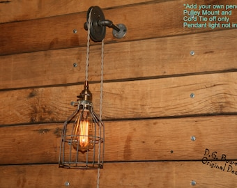 Industrial Pulley Wall Sconce for your Trouble Light Pendant - Trouble Light Fixture NOT included