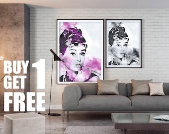 Audrey Hepburn, Actress, Wall Art, Instant Download Printable Art, Digital Art, Watercolor Print, Wall Prints, Purple Print,Black & White