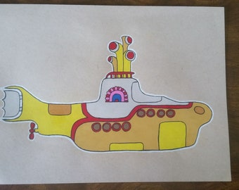 Original Drawing - The Beatles - Yellow Submarine