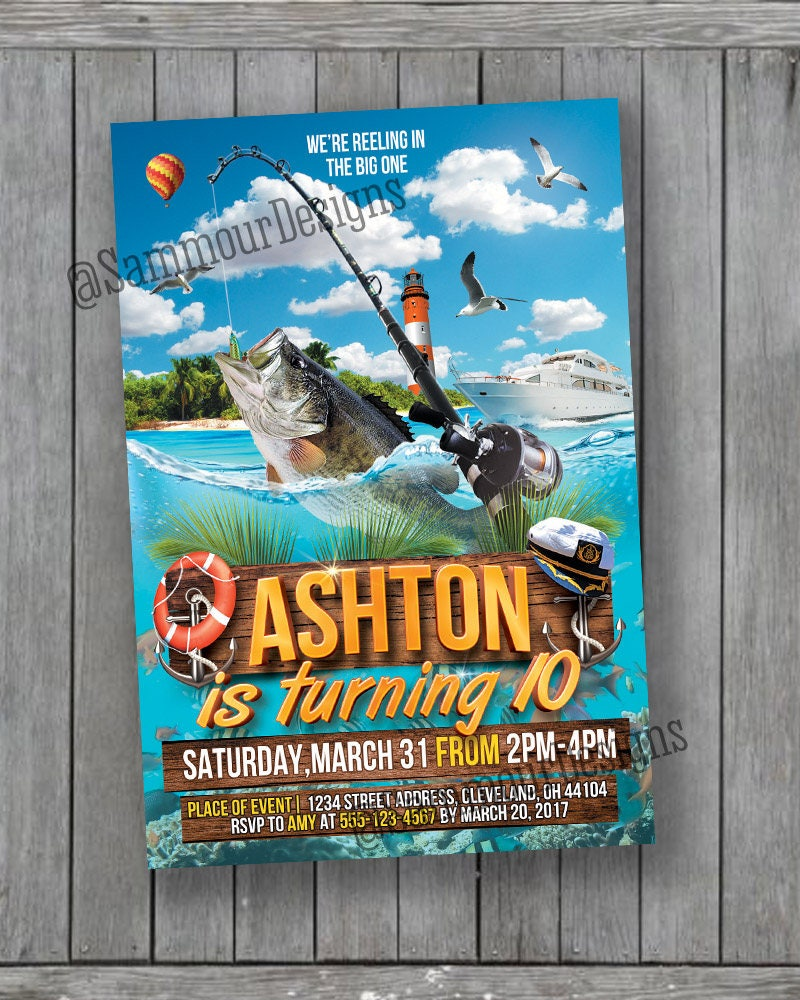 Fishing Birthday Invitation O-Fish-al Birthday Invitation