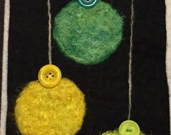 Handmade needle felted Christmas ornament wall hanging