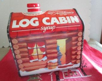 Log Cabin Syrup Tin    100th Anniversary