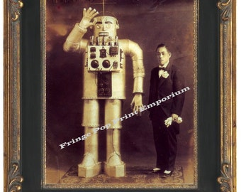 Victorian Japanese Man With Robot Steampunk Art Print 8 x 10