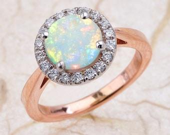 Opal Engagement Ring Rose Gold, Opal Rose Gold Ring, Halo Opal Engagement Ring Rose Gold, Australian Opal Engagement Ring Rose Gold, Opal