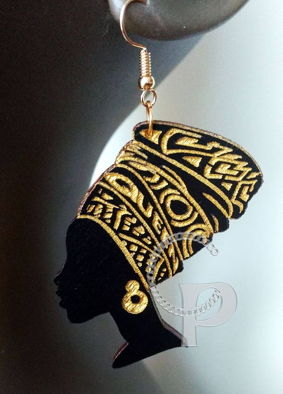 African Woman Queen Head Wrap Silhouette Wooden Engraved