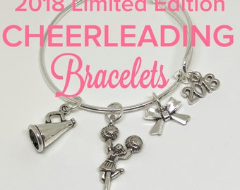 2018 Cheerleading Bracelet, CHILD and ADULT SIZES, Cheerleading Gift, Cheerleader Jewerly, Cheerleading Charm, Cheerleading Award, Cheer Bow