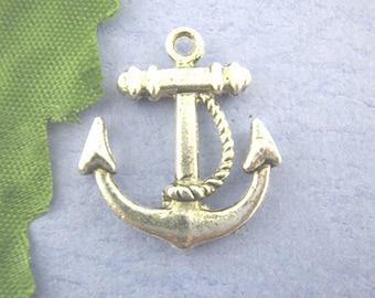 10 pieces Antique Silver Anchor Charms