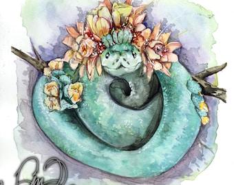Cactus Snake Watercolor Art Print Nature