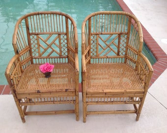 BAMBOO BRIGHTON Style CHAIRS / Pair of Chinese Chippendale Rattan Chairs / 2 Bamboo and Cane Chinoiserie style Chairs at Retro Daisy Girl