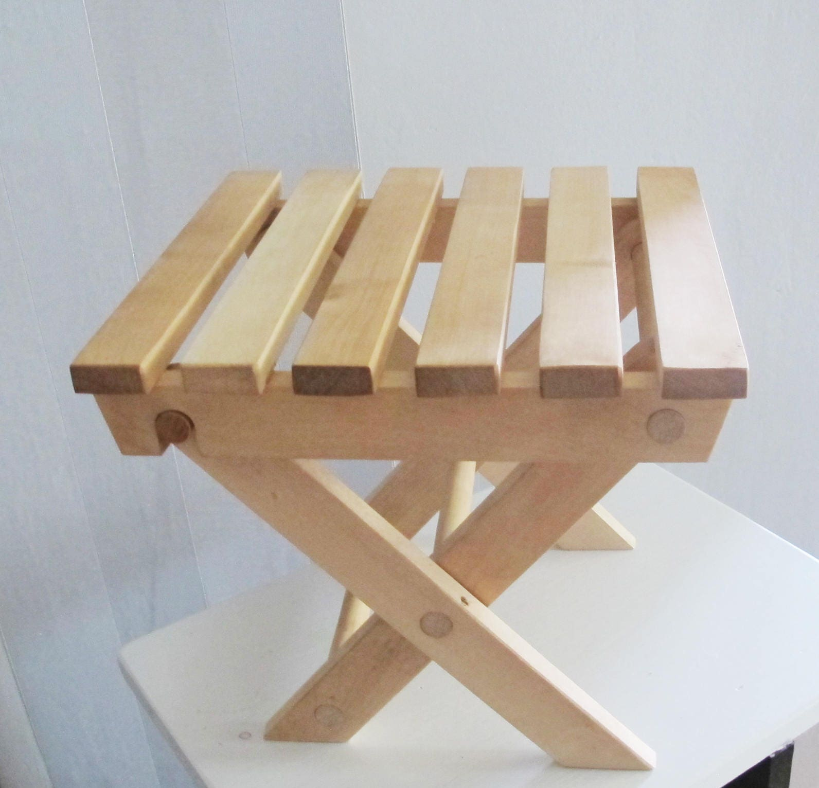 Wooden Folding Stool Wood Bench Foot Stool Rustic Home