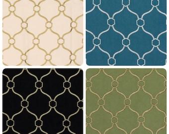 Modern Viscose Linen Ivory Upholstery Drapery Pillow Fabric Neutral Black Beige Green Turquoise Blue Geometric Diamond Trellis Pattern IL11