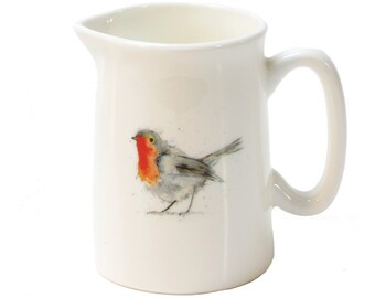 Robin Mini Jug - Robin Gift, Bird Gift, Gift for Her - Fine bone china, Country Kitchen, Housewarming Gift, Birthday Gift
