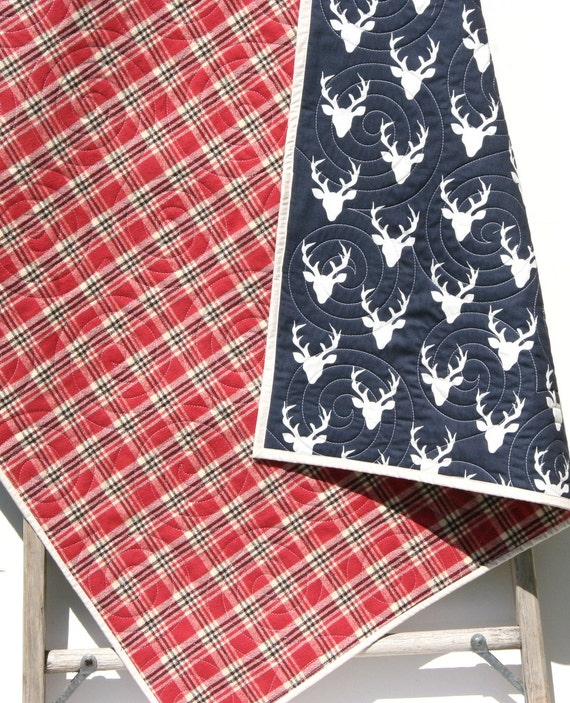 Plaid Baby Quilt: Plaid Blanket Deer Baby Quilt Modern Bedding Crib Cot