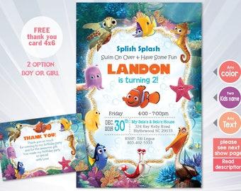 Finding nemo invitation - NEMO birthday party - birthday invitation - pink blue invitation - personalized - printable - summer invitation