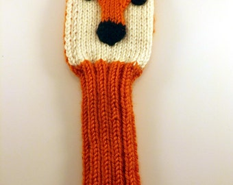 Hand-Knit Fox or Wolf Golf Club Cover - Knit Golf Club Cover - Golf Club Sleeve - Knit Fox Golf Cover - Knit Wolf Golf Cover