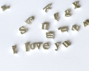 7X5mm Mini initial Charm, Matte Silver Letter charm,  Can Add to necklace or Bracelet, Personalized Initial Charm, Bead