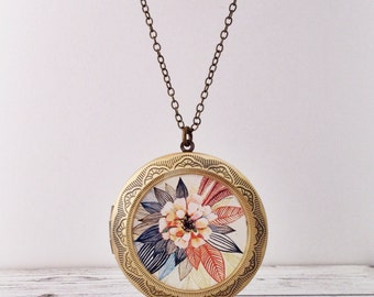 Zinnia Locket Large - Flower Necklace Made From Our Original Design - Floral Gift