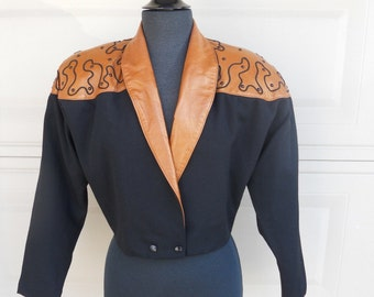 80s Wool Leather Pants SET / Cropped Jacket / COUTURE Designer Dali Melame / Soutache Studs Two Pieces / Unworn