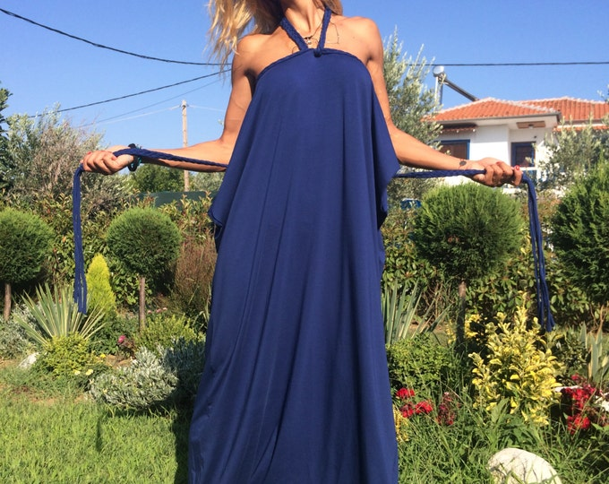 Womens Blue Cotton Jumpsuit, Extravagant Loose Jumpsuit, Casual Daywear Harem Pants With Belt by SSDfashion