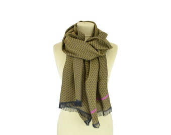 SALE 20% OFF : Motif Wax khaki - Woman's scarf - La Tribu des Oiseaux