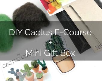 DIY Cactus Course Gift Card with Mini Felting Box