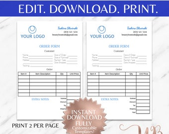 order form order template small business form business
