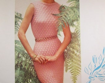Knit Dress Pattern - 1950's Vintage PDF Pattern, Women's Knit Dress KIY7