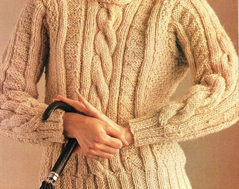 Ladies Bulky Cable Sweater, Knitting Pattern. PDF Instant Download.