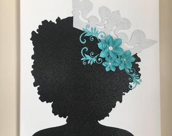 Queen Silhouette - Afro - Wall Decor -  Wall Hangings - Tiffany Blue - Afro Silhouette - Canvas - Artwork - Art - Room Decor