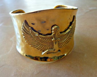 Brass Cuff Bracelet, Goddess Isis, Ma'at Egyptian Jewelry, Statement Jewelry, Gift For Her, African Jewelry