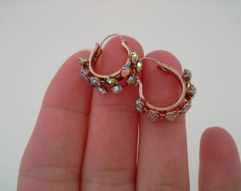 Vintage Hoops, Small Rhinestone Hoops, Petite Hoop Earrings, Small Hoop Earrings, Rhinestone Earrings, AB Hoops, Huggie Hoop Earrings