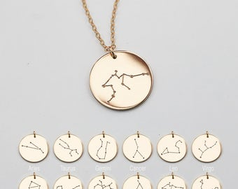 Constellation necklace, Zodiac Jewelry, Astrology Zodiac necklace, libra, virgo, scorpio, sagittarius, capricorn, mothers day gift ZN00230