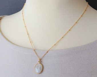 Gold Satellite Chain with Moonstone Pendant, 14K Gold Fill, Gold Filled Chain, Moonstone Necklace, Necklace Gold, Gift, Gift for Her