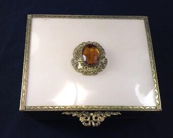 Gold Tone Filigree Jewelery Casket,Red Velevet Interior,Hollywood Regency,Brass and Glass,Trinket Box,Sweetheart Gift