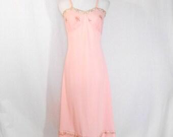 Vintage 1950's Pin Up 50's Slip Women's Pink Full Slip Dress Slip Vintage Rogers Slip Boudoir Lingerie