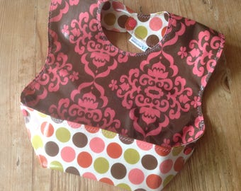 Ready to ship! Toddler Laminated Snappy Pocket Bib, with pink and brown damask and dots laminated cotton, wipeable and washable, BPA Free