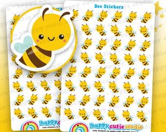 48 Cute Bee Planner Stickers, Filofax, Erin Condren, Happy Planner,  Kawaii, Cute Sticker, UK