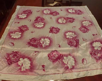 "Vintage New Purple and White Rose Hand-Printed Scarf 29"" x 31"""