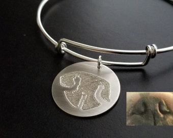 Paw Print Bracelet Nose Print Bangle Personalized FEEL IMPRESSION Engraved into 925 Sterling Silver or 14k 14/20 GF Memorial Actual Pet