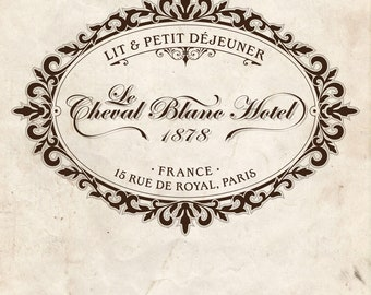 Water Slide Decal Print Transfer - Hotel Cheval Blanc Vintage French Label #042 (for furniture, wood, paper)