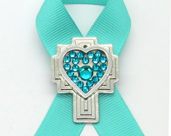 Ovarian Cancer Awareness Pin, Cross, Crystals, Handmade, Gift for Her, Angels, Jewelry
