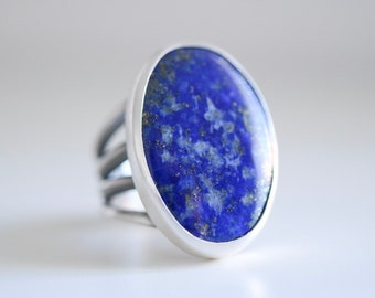 Lapis Lazuli ring. Sterling silver ring with natural Lapis lazuli. Lapis ring, blue Lapis, blue gemstone ring, statement cocktail ring.