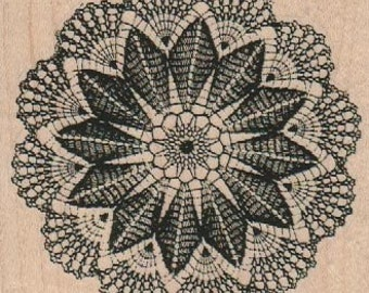 Rubber stamp Large Doily  scrapbooking supplies number 18847 cling stamp, wood mounted or unMounted