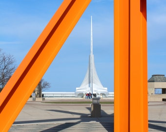 The Calling Statue Mark di Suvero Orange Art Museum Milwaukee Wisconsin Fine Art Photo Print Home Wall Decor by Rose Clearfield on Etsy